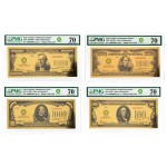 USA Fine Gold 4-Bill Set $100; $1000; $10,000; $100,000 Smithsonian Edition 1934 PMG 70