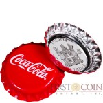 Fiji COCA-COLA $1 Silver Coin 2018 Bottle Cap Shaped Proof