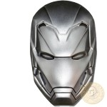 Fiji 3D IRON MAN MARVEL COMICS series SUPER HEROES MASKS Silver coin $5 Antique finish 2019 Mask sculpted 3D concave shaped 2 oz