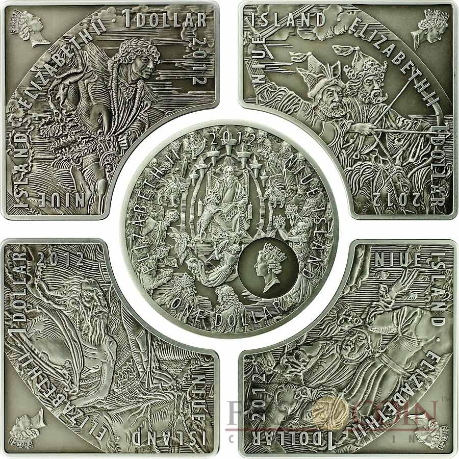 Niue Island HORSEMEN OF APOCALYPSE $5 Colored Silver Five Coin set 2012 Antique finish High relief ~ 4.55 oz