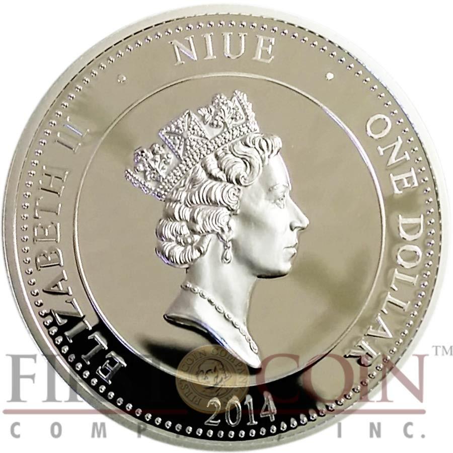 Niue Island ORLOVSKY TROTTER HORSE Horseshoe design $1 Colored Silver Coin 2014 Proof
