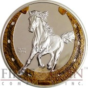 Niue Island ORLOVSKY TROTTER HORSE Horseshoe design $1 Colored Silver Coin 2014 Proof
