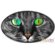 Niue Island KITTY CAT series ANIMAL SKIN $2 Holographic 3D Eyes 2017 Silver Coin High relief Antique finish 1 oz