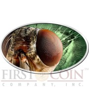 Niue Island THE HOUSEFLY series ANIMAL SKIN $2 Holographic 3D Eye 2014 Silver Coin High relief Antique finish 1 oz