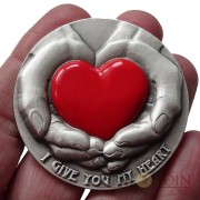 Niue Island I GIVE YOU MY HEART Silver COIN OF LOVE $5 MAX Relief 2016 Antique finish Hand Painted red glossy heart element 3 oz