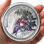 Fiji Stag beetle $10 Insect of the Year Exotic Endangered Wildlife Colored Silver coin Ultra High Relief 2014 Antique finish 2 oz