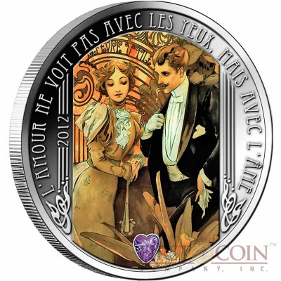 Niger FLIRT 1000 Francs William Shakespeare - Love Quotation series Colored Silver Coin Filigree Amethyst Gemstone 2012 Proof