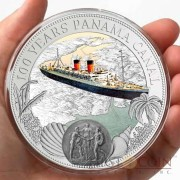 Niue Island 100 Years Panama Canal $2 Silver Coin Colored Proof-like partly Frosted ~1.6 oz  2014