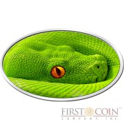 Niue Island GREEN TREE PYTHON series ANIMAL SKIN $2 Lenticular Flip Eye 2016 Silver Coin High relief Antique finish 1 oz