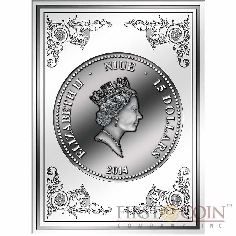 Niue Island ROMEO and JULIET $15 Innovative NANO CHIP Silver coin with 25,948 words William Shakespeare 3 oz Antique finish 2014