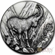 Niue Island Alpine Ibex Capricorn Goat $2 Swiss Wildlife Series Silver Coin 2014 Ultra High Relief Antique Finish 1 oz