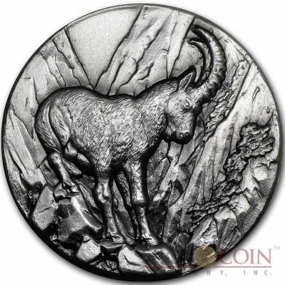 Niue Island Alpine Ibex Capricorn Goat $2 Swiss Wildlife Series Silver Coin 2014 Ultra High Relief Antique Finish 1 oz
