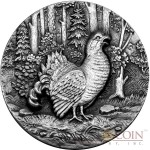 Niue Island Capercaillie Swiss Mountain Cock $2 Swiss Wildlife Series Silver Coin 2014 Ultra High Relief Antique Finish 1 oz