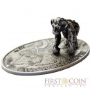 Niue Island CHIMPANZEE series TRACKER $1 Silver coin YEAR OF THE MONKEY 3D SILVER SCULPTURE 2016 Antique finish 1.1 oz