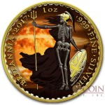 United Kingdom BRITANNIA SKELETAL series ARMAGEDDON £2 Silver coin 2017 Gold Plated 1 oz