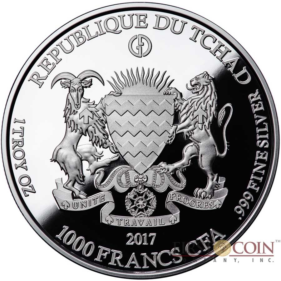 Republic of Chad SPITTER NOTRE DAME DE PARIS series GARGOYLES & GROTESQUES 1000 Francs Silver Coin High relief 2017 PROOF 1 oz