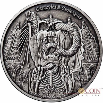 Republic of Chad DECAY WASHINGTON CATHEDRAL series GARGOYLES & GROTESQUES 1000 Francs Silver Coin High relief 2017 ANTIQUE FINISH 1 oz