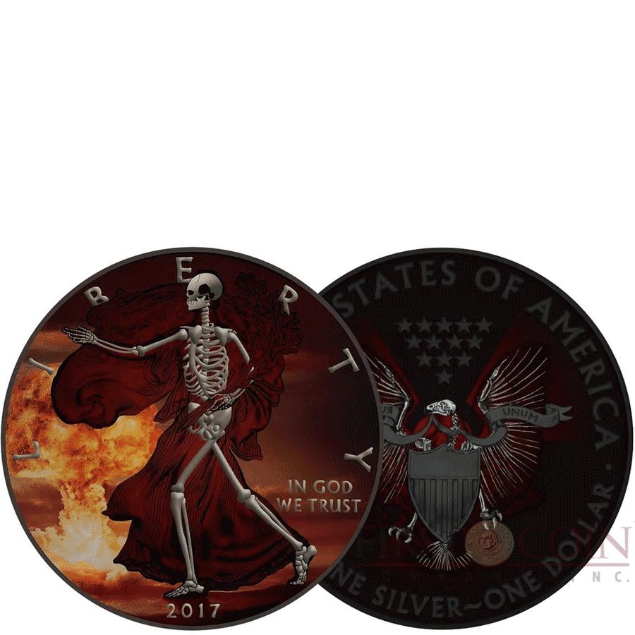 USA SKELETAL series ARMAGEDDON American Silver Eagle Walking Liberty $1 Silver coin 2017 Gold Plated 1 oz