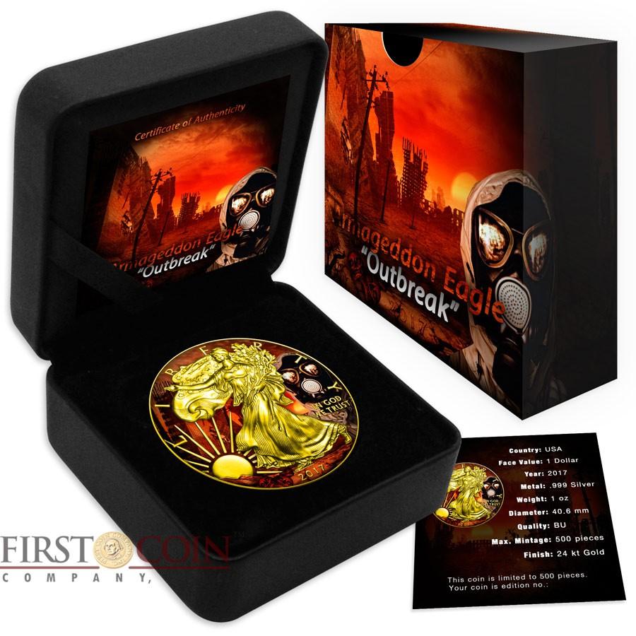 USA OUTBREAK series ARMAGEDDON American Silver Eagle Walking Liberty $1 Silver coin 2017 Gold Plated 1 oz