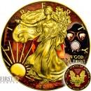 USA OUTBREAK series ARMAGEDDON EAGLES American Silver Eagle Walking Liberty $1 Silver coin 2017 Gold Plated 1 oz