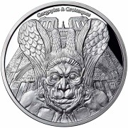 Republic of Chad SPITTER NOTRE DAME DE PARIS series GARGOYLES & GROTESQUES 1000 Francs Silver Coin High relief 2017 PROOF 1 oz