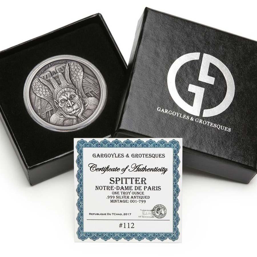 Republic of Chad SPITTER NOTRE DAME DE PARIS series GARGOYLES & GROTESQUES 1000 Francs Silver Coin High relief 2017 ANTIQUE FINISH 1 oz