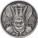 Republic of Chad SPITTER NOTRE DAME DE PARIS series GARGOYLES & GROTESQUES 1000 Francs Silver Coin High relief 2017 ANTIQUE FINISH 1 oz