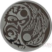 Cook Islands GRIZZLY BEAR vs SALMON series PREDATOR PREY $5 Silver Coin Black palladium plated 2015 Proof 1 oz