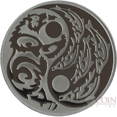 Cook Islands GRIZZLY BEAR vs SALMON series PREDATOR PREY $5 Silver Coin Black palladium plated 2015 Proof 1 oz