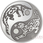 Cook Islands CROCODILE vs JAGUAR series PREDATOR PREY $5 Silver Coin Black palladium plated 2017 Proof 1 oz
