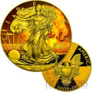 USA NUCLEAR EAGLE series ARMAGEDDON American Silver Eagle Walking Liberty $1 Silver coin 2016 Gold Plated 1 oz