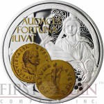 Niue Island FORTUNA $1 Aureus series Gold Printing Silver Coin 2014 Proof