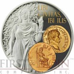 Niue Island IUSTITIA - Lady of Justice $1 Aureus series Gold Printing Silver Coin 2014 Proof