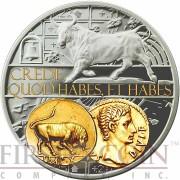 Niue Island TAURUS $1 Aureus series Gold Printing Silver Coin 2014 Proof