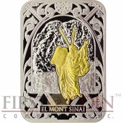 Andorra MOUNT SINAI 10 Diners Biblical Places series Rectangular Gilded Silver Coin 2012 Proof
