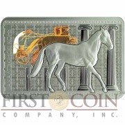 Belarus Akhal-Teke Horse 20 Rubles High Relief Colored Silver Rectangular coin 2011 Proof 1 oz