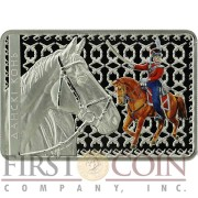 Belarus Don Horse 20 Rubles High Relief Colored Silver Rectangular coin 2012 Proof 1 oz