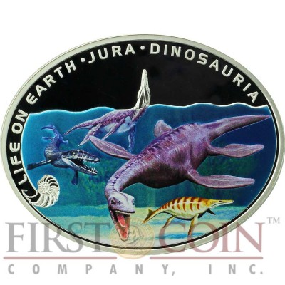 Niue Island JURASSIC PERIOD - LIFE IN WATER - DINOSAURIA  $1 Life on the Earth series Oval Metallic Colored Silver Coin 2013 Proof