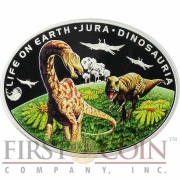 Niue Island JURASSIC PERIOD - LIFE ON THE GROUND - DINOSAURIA $1 Life on the Earth series Oval Colored Silver Coin 2013 Proof