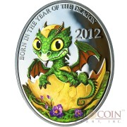 Niue Island BABY DRAGON $1 Lunar Calendar series Oval Colored Silver Coin 2012 Proof