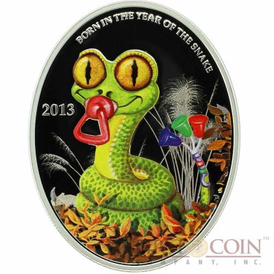 Niue Island BABY SNAKE $1 Lunar Calendar series Oval Colored Silver Coin 2013 Proof