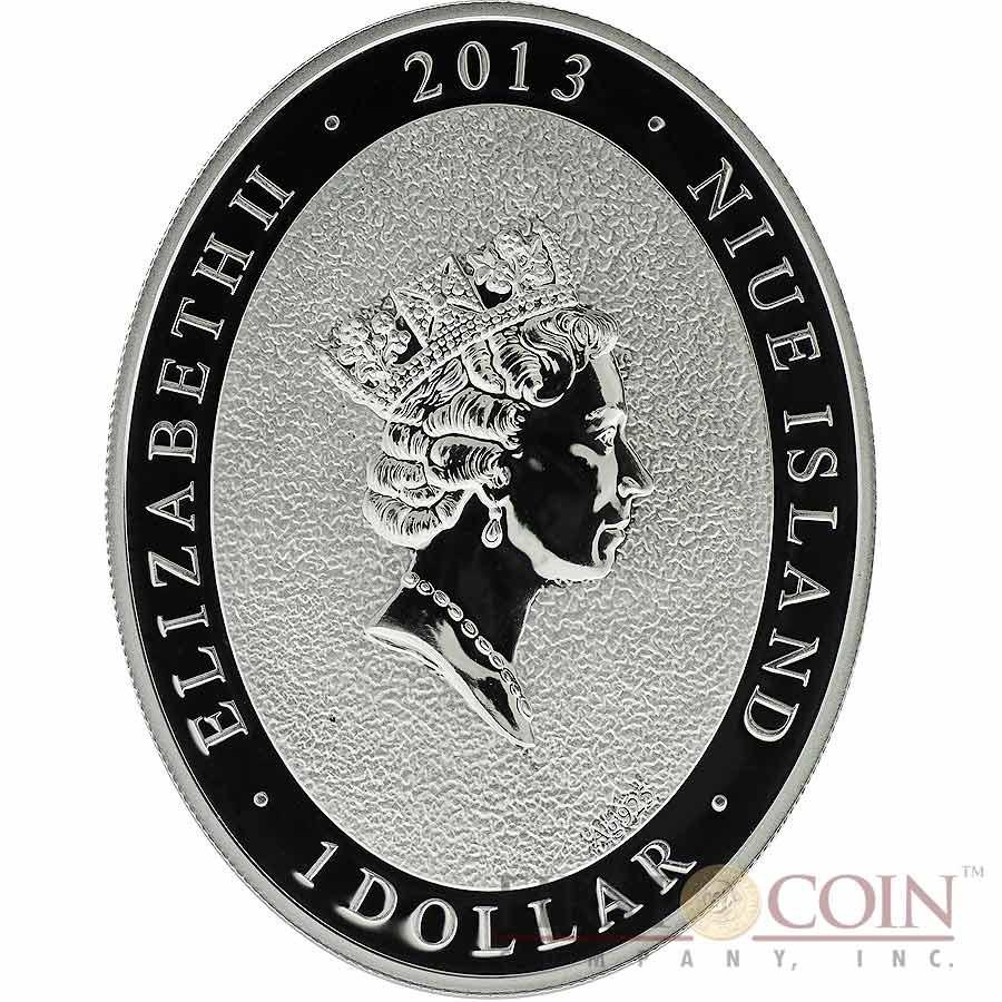 Niue Island LOVE SNAKE $1 Lunar Calendar series Oval Colored Silver Coin 2013 Proof
