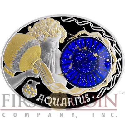 Macedonia AQUARIUS 10 Denars Macedonian Zodiac Signs series Dome Cobalt Glass Insert Oval Gilded Silver Coin 2015 Proof