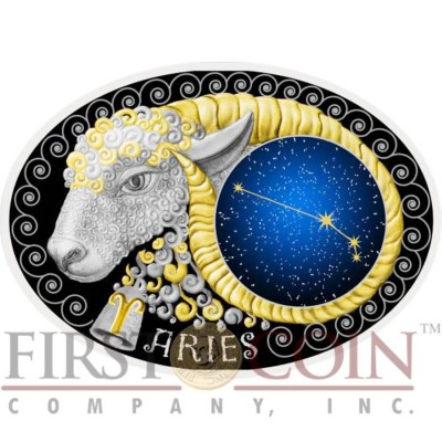 Macedonia ARIES 10 Denars Macedonian Zodiac Signs series Dome Cobalt Glass Insert Oval Gilded Silver Coin 2015 Proof