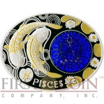 Macedonia PISCES 10 Denars Macedonian Zodiac Signs series Dome Cobalt Glass Insert Oval Gilded Silver Coin 2015 Proof