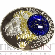 Macedonia LEO 10 Denars Macedonian Zodiac Signs series Dome Cobalt Glass Insert Oval Gilded Silver Coin 2014 Proof