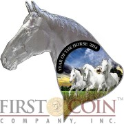 Niue Island YEAR OF THE HORSE Head shape $1 Colored Silver Coin 2014 Proof
