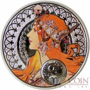 Niue Island ARIES $1 Painter Alphonse Mucha Zodiac series Colored Silver Coin 2011 Proof
