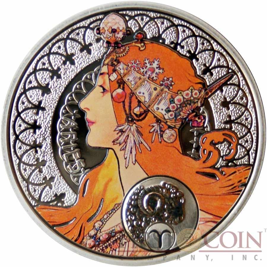 Niue Island Painter Alphonse Mucha Zodiac series $12 Colored Silver