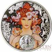 Niue Island CANCER $1 Painter Alphonse Mucha Zodiac series Colored Silver Coin 2011 Proof